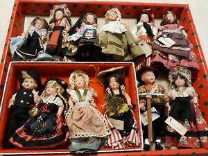"""Lot of 12 Vintage Celluloid Boy and Girl Dolls in Regional Costumes 4-5"""""""
