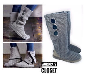 Ugg 7 Gray Classic Cardy Boots Tall Sweater Knee High $150
