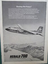 4/1966 PUB HANDLEY PAGE HERALD 700 GLOBE AIR SWISS AIRLINE AIRCRAFT ORIGINAL AD