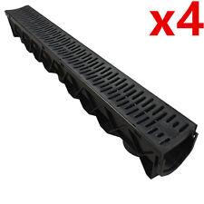 4 x Drain Channel Deep Drainage Plastic PVC Water Rain Storm Shower Wetroom 1m