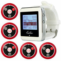 Restaurant Wireless Calling Pager System Sets+5*Call Button+Wrist Watch Receiver