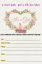 Baby Shower Invitation, Floral, Pink, Girl X10