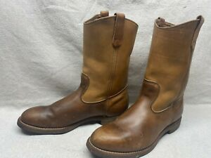 Red Wing USA Men's 12 D Tan Leather Pull On Soft Toe Western Motorcycle Boots
