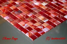 """Glass Mosaic Tiles """"L'Amour Rouge"""" red rose mix sheet, iridescent"""