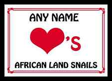 Love Heart African Land Snails Personalised Placemat