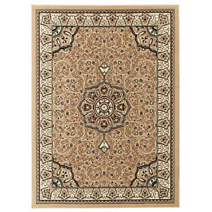 Think Rugs Diamond Traditional Central Medallion Design Tufted Beige Rugs