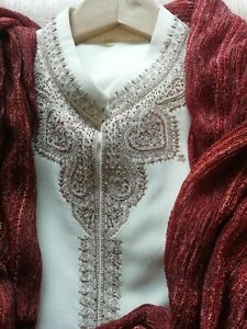 Mens wedding sherwani cream with red detail gorgeous Indian formal wear party 38