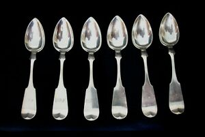 Set of 6 1860 Antique Fiddleback Charles Rudolf Coin Silver Monogramed Teaspoons