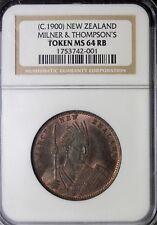 New Zealand Milner & Thompsons Christchurch Penny Token NGC MS64 RB KM#Tn53