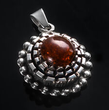 LATVIAN handmade sterling SILVER and Baltic AMBER pendant