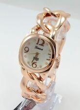 Rose Gold Plated Women's Geneva  CUBAN Link Chain Costume Bracelet Watch #719 us