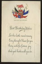 WW1 Patriotic Birthday PPC Flags used 1915