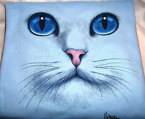 """Cat Face - Blue Eyes"" - Gildan (Blue) Fleece Long sleeve Crew Neck Sweatshirt"