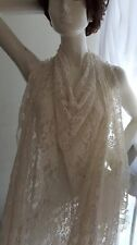 """Light ivory Embossed Floral Lace 4 ways Stretch  Fabric Double scalloped 58"""""""