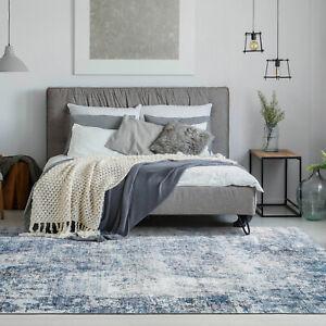 Large Floor Rug Runner Blue Distressed Area Rug Abstract Print Modern Carpet Mat