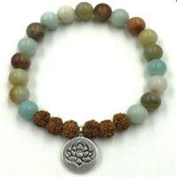 8mm Rudraksha Amazonite bracelet Wrist Healing Reiki Buddhism pray Chakas yoga