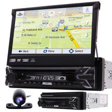 "Single 1DIN Flip-Out 7"" Car Stereo DVD VCD Player GPS/USB/Bluetooth Radio Camera"