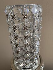 Valerie Parr Hill Illuminated Facted Crystal Silver Hurricane Lamp w/ Microlight
