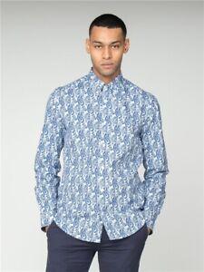 Ben Sherman Linear Paisley Long Sleeve Mens Shirt, Dark Navy Blue