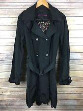 Betsey Johnson Trench Coat Size XL Belted Jacket Women Black Hooded Lace Hem