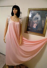 LUCIE ANN vintage Nylon Antron nightgown LIGHT PINK Lace sleeve size S small