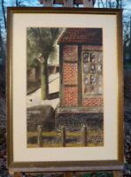schönes Aquarell hinter Glas Haus an der Dorfstraße gelungene Künstlerarbeit