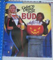 vintage BUDWEISER Beer Poster Halloween Vampire Werewolf Want to Drink BUD 1990
