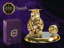Gold Plated Owl on Book and a Clock Figurine With Swarovski Crystals