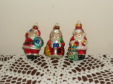 3 Vintage Christmas Tree Ornaments  Santa Claus  Blown Glass Germany