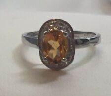 Oval Citrine Ring w Diamonds 14K White Gold size 7.25 almost wholesale!