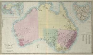 AUSTRALIAN COLONIES w/ counties. Predates Queensland (Est. 1859). SDUK 1857 map