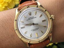 RARE Vintage ROLEX 6569 OP Solid 18k Gold Engine Turned Bezel Men's Watch