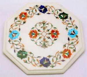 "12"" white Marble side corner Table Top Inlay multi stone art Handmade decor"