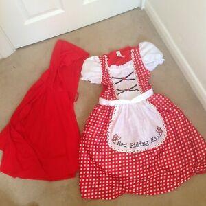 LOVELY GIRLS LITTLE RED RIDING HOOD FANCY DRESS COSTUME & HOODED CAPE AGE 9-10