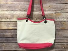 Canvas Crew by Thirty One Natural Beige Pink Tote Bag Small Shoulder