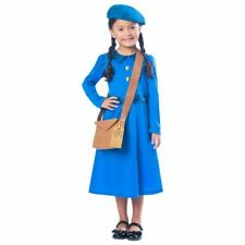 Girls WW2 Wartime Blue World Book Day Evacuee Costume 7-8yrs