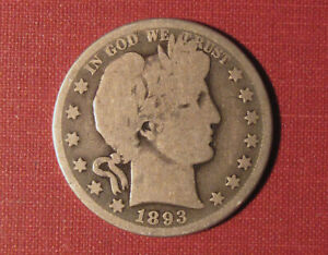 1993-O BARBER HALF DOLLAR - EARLY NEW ORLEANS COIN, MODERATE DETAILS