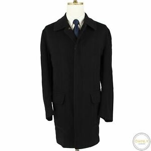 Brioni Black Wool Flannel Covered Placket Patch Flap Pockets Overcoat XL