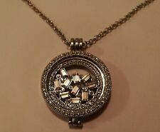 Silver Crystal locket 33mm Coin Necklace Disc Pendant BIRTHDAY Christmas 873