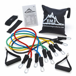 Black Mountain Products Resistance Band Set with Door Anchor, Ankle Strap,Chart