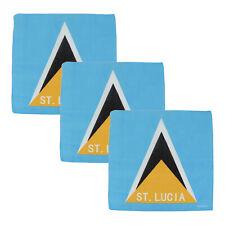3 Bandanas Cotton St. Lucia Flag Head Scarf Three Handkerchiefs