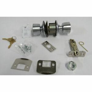 Schlage F51A BEL 626 Bell Knob Keyed Entry Lock, Satin Chrome