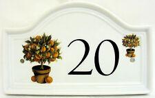 The Orange Tree Door Number Plaque Topiary Ceramic House Door Sign Any Number
