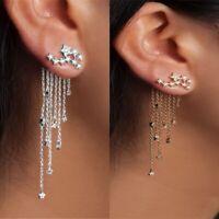 UK Pearl Crystal Shooting Star Rhinestone Long Tassels Drop Hook Dangle Earrings