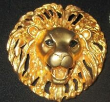 "Vtg Large/Substantial 3"" Gold Lion's Head Figural Brooch/Pin Gorgeous & EXC"