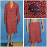 ST JOHN COLLECTION KNIT Terracotta Red Jacket & Skirt L 10 12 2pc Suit BUTTONS