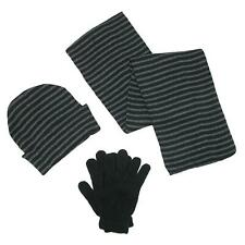 New CTM Men's Knit Striped Hat Gloves and Scarf Winter Set