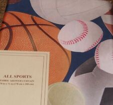 All Sports Fabric Shower Curtain Football Basketball Soccer Baseball 70x71  NIP