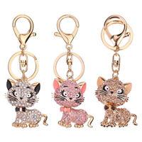Luxury Rhinestone Cat Shape Keychain Women Handbag Key Ring Car Key Pendant US