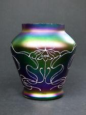 Carl Goldberg squat iridescent purple glass vase enamel flower Haida Art Nouveau